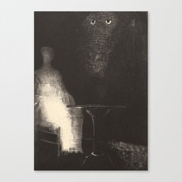 Below, I saw the vaporous contours of a human form by Redon Canvas Print