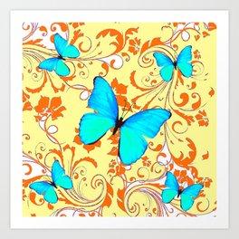 DECORATIVE BLUE BUTTERFLIES YELLOW FLORAL PATTERN Art Print