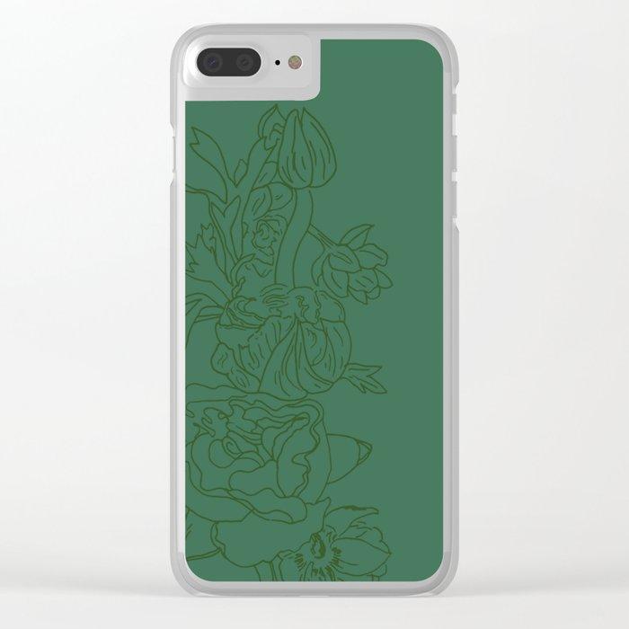 Floral Ink - Emerald & Olive Ranunculus Clear iPhone Case