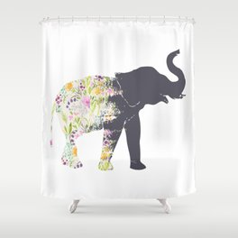 Floral Elephant Animal Print Shower Curtain