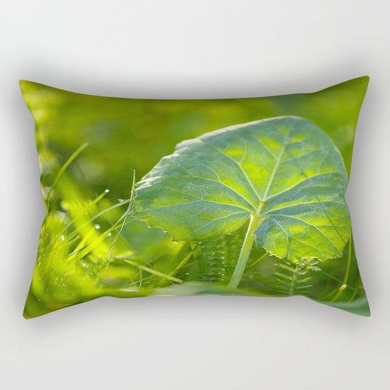 A Pure Green Leaf  Rectangular Pillow