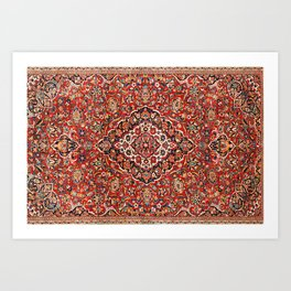 Kashan  Antique Central Persian Rug Art Print