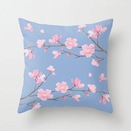 Square - Cherry Blossom - Serenity Blue Throw Pillow