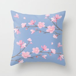 Square - Cherry Blossom - Serenity Blue Throw Pillow