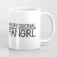 fangirl Mugs featuring Professional fangirl by Romace Room Designs