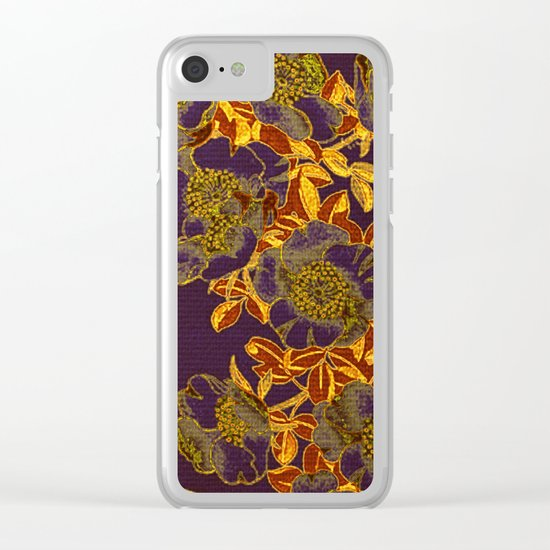 rich floral on purple Clear iPhone Case