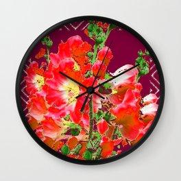 Burgundy  Red Orange Holly Hocks Pattern  Color Floral Art Wall Clock