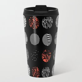 Digital art dark pattern abstract orange black white Travel Mug