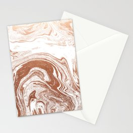 Marble copper metallic suminagashi spilled ink japanese marbling abstract ocean swirl Stationery Cards