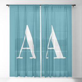 Teal and White Initial Letter A Monogram Sheer Curtain