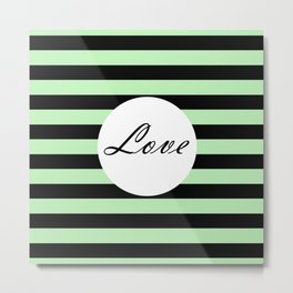 Vintage Love - Pastel green and black design Metal Print