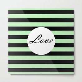Vintage Love - Pastel green and black design Metal Print