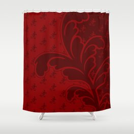 Ferny Red Shower Curtain