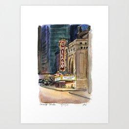 Chicago Theatre Nocturne Art Print