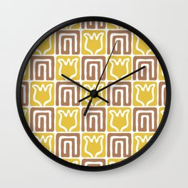 Mid Century Flower Garden Pattern 381 Yellow and Brown Wall Clock