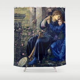 """Edward Burne-Jones """"Love Among the Ruins"""" Shower Curtain"""