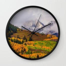 USA Colorado Fog Nature Autumn Mountains Scenery mountain landscape photography Wall Clock