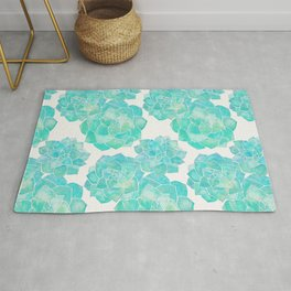 Rosette Succulents – Turquoise Palette Rug