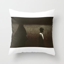 Boy and grey wall Throw Pillow