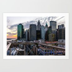 Brookly Bridge & Financial District Art Print