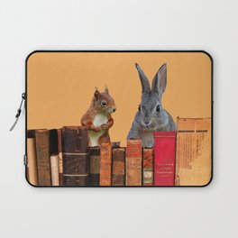 Rabbit with squirrel behind old Books #society6 Laptop Sleeve