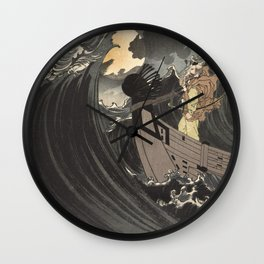 Tsukioka Yoshitoshi - Moon above the sea Wall Clock