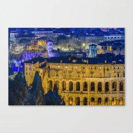 Night Scene Rome Cityscape Aerial View Canvas Print