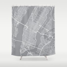 New York City Map, New York USA - Pewter Shower Curtain