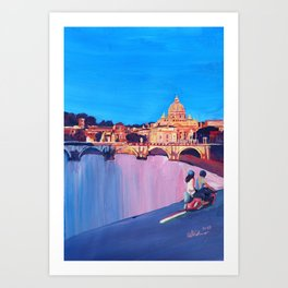 Rome Scene with Motorcycle and view of Vatican Art Print