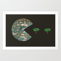 pacman Art Prints featuring Pacman by gunberk