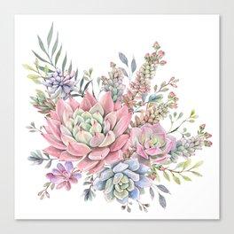 succulent watercolor 9 Canvas Print