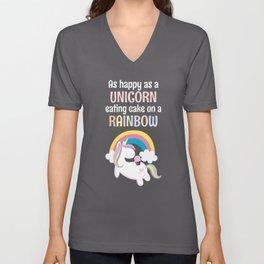 As Happy As A Unicorn Eating Cake On A Rainbow Unisex V-Neck