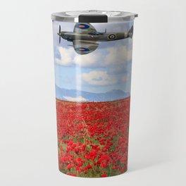 World War II Supermarine spitfire fighter plane flying over poppy field Travel Mug