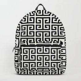 Black and White Greek Key Pattern Backpack
