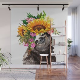 Sloth with Sunflower Crown Wall Mural