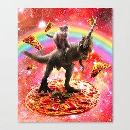 Space Cat Riding Dinosaur Unicorn - Pizza & Taco Canvas Print