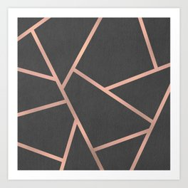 Dark Grey and Rose Gold Textured Fragments - Geometric Design Art Print