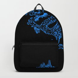 Blue Dragon on Black Backpack