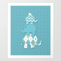 Stacked Aqua Elephants Art Print