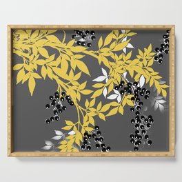 TREE BRANCHES YELLOW GRAY  AND BLACK LEAVES AND BERRIES Serving Tray