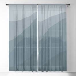 Abstract Color Waves - Blue Palette Sheer Curtain