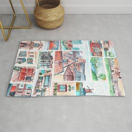 Corners of town little illustrations Rug