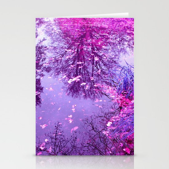 purple garden pond II Stationery Cards