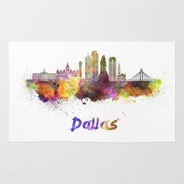 Dallas skyline in watercolor Rug