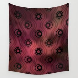 Bold Circle Rings and Wavy Lines on Abstract Blurred Red Patch Background Wall Tapestry