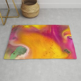 Happiness watercolor abstraction painting Rug