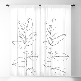One line plant illustration - Dany Blackout Curtain