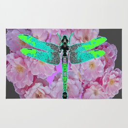 GREY COLOR EMERALD DRAGONFLY PINK ROSES Rug