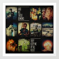 blink 182 Art Prints featuring blink-182 - Up All Night by J.J. del Rosario