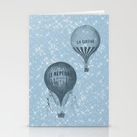 hot air balloons Stationery Cards featuring Hot Air Balloons by Zen and Chic
